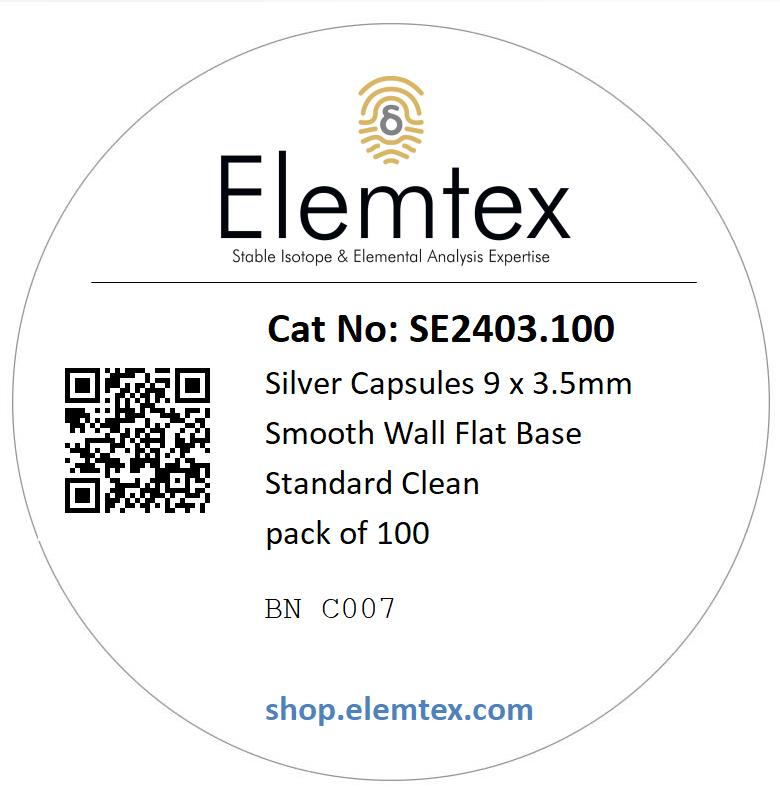 SE2403, Silver Capsules Smooth Wall Flat Base 9 x 3.5mm Standard Clean