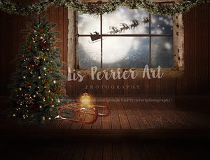 "Christmas Digital Background/ ""Through the Window """
