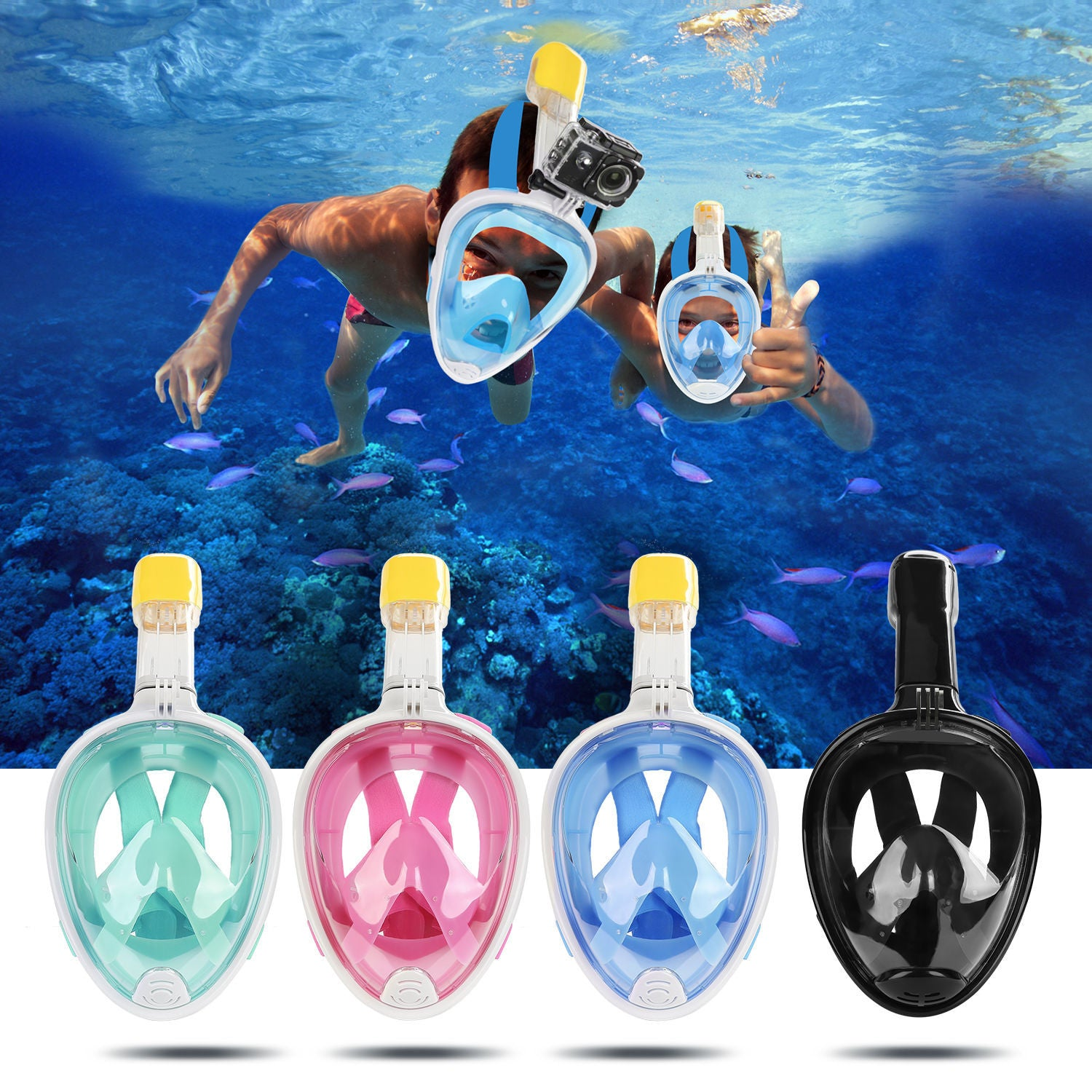 4ccc883972d4 H20 180° Full Face Snorkel Mask With GoPro Mount - The Gadget Mole
