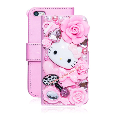 Cute 3D Bling Crystal Hello Kitty Flip Wallet Leather Case For iphone