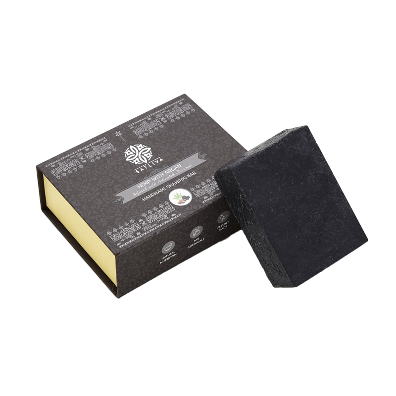 Hemp with Argan and Activated Charcoal Shampoo Bar - Strengthens hair follicles, removes impurities & absorbs excess oil