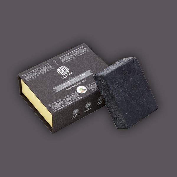 Hemp with Shea Butter and Activated Charcoal Body Soap Bar - Reduces acne, blackheads & removes dead cells