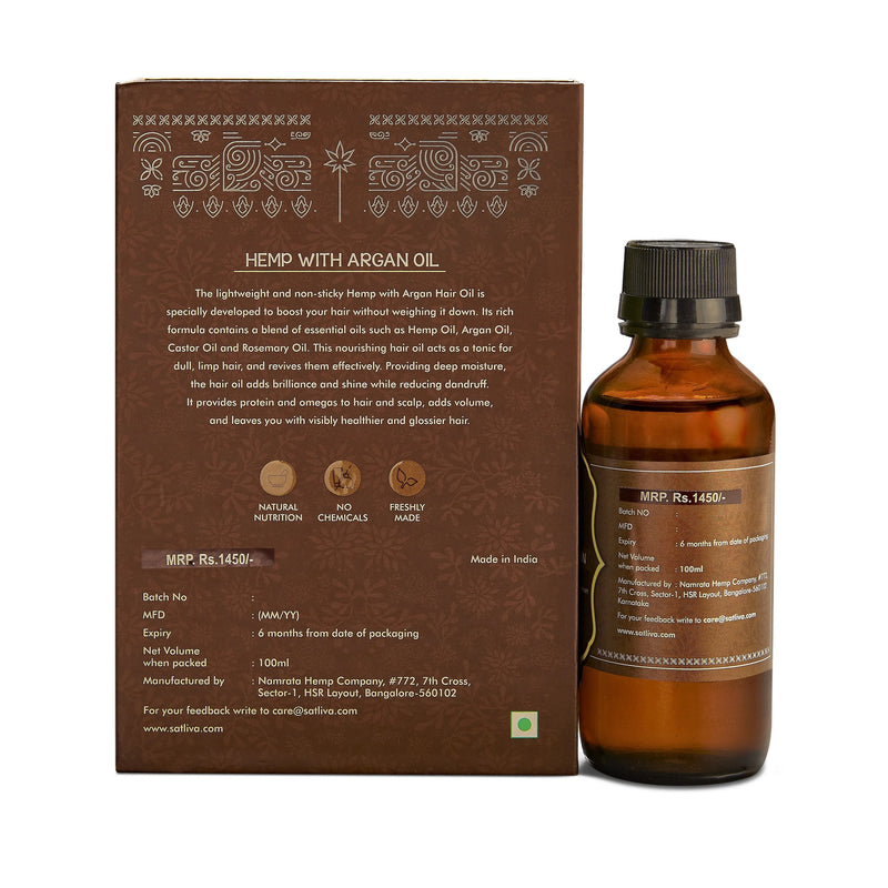 Hemp with Argan Hair Oil - Strengthens the roots, helps in restoring damaged & frizzy hair & reduces hair fall
