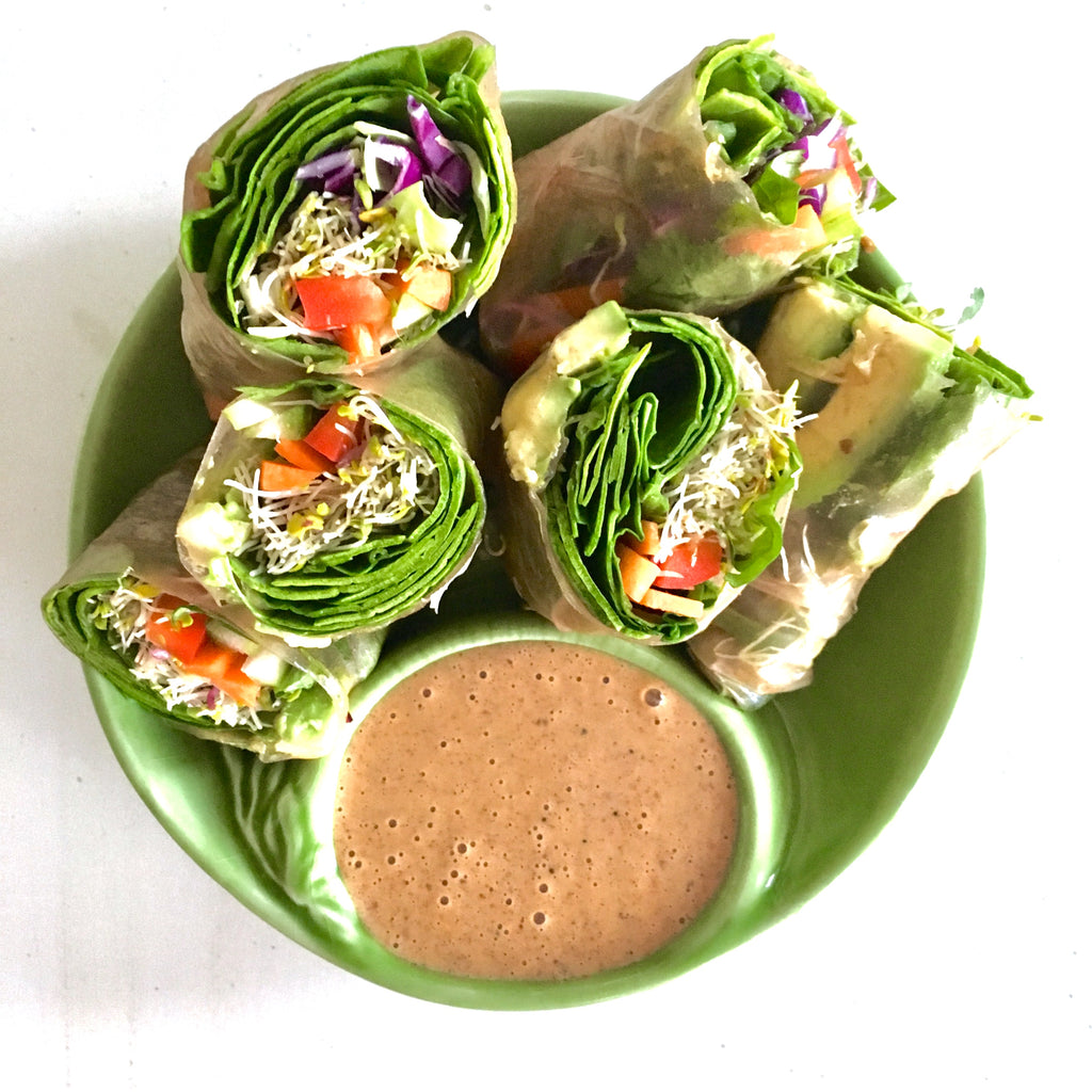 Veggie Spring Rolls with Almond Dipping sauce