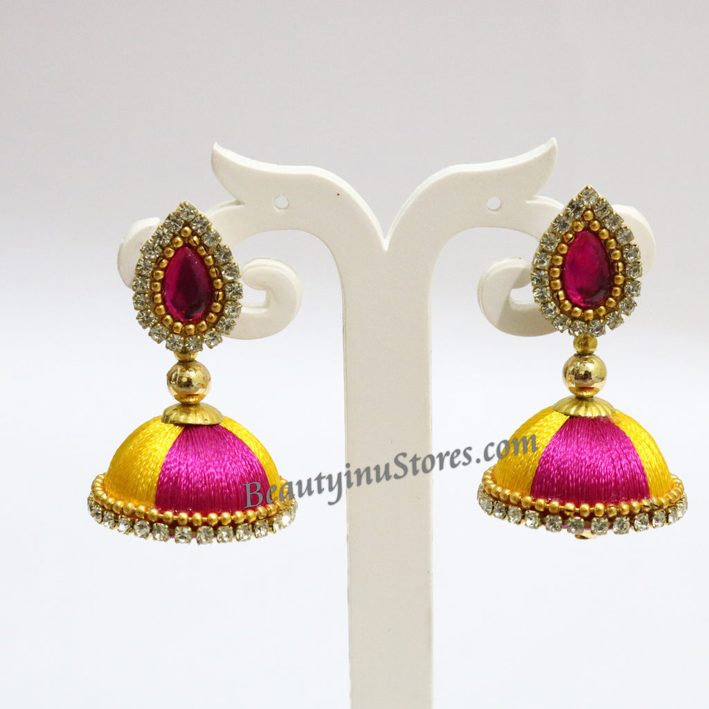 green yellow thread silk handicrafts khushi earrings products