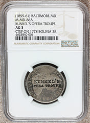 1859-61 Baltimore MD Kunkel's Opera Troupe Merchant Token M-MD-86A - NGC AG 3