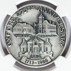 1988 Oxford, MA Massachusetts 275th Anniversary Silver Town Medal - NGC MS 68