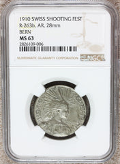 1910 Switzerland Bern Swiss Shooting Festival Silver Medal R-263b - NGC MS 63