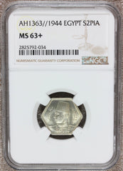 AH1363 (1944) Egypt 2 Piastres Silver Coin - NGC MS 63+ - KM# 369
