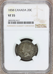 1858 Canada 20 Twenty Cents Silver Coin - NGC VF 35 - KM# 4