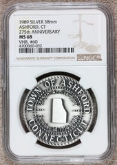 1989 Ashford, CT Connecticut 275th Anniversary Silver Town Medal - NGC MS 68