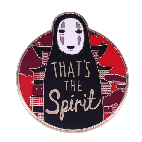 "Spirited Away No Face Kaonashi ""That's the spirit"" Badge Pins - ghibli.store"