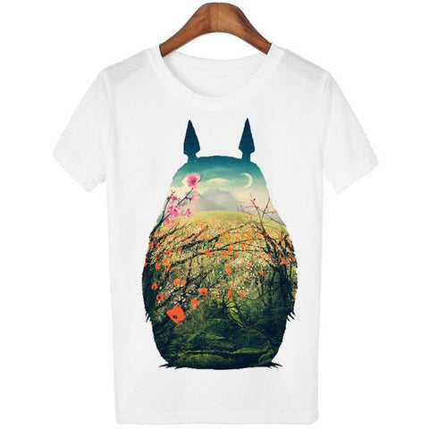 Casual o-neck Totoro Print T-shirt Women 14 Styles - 50shades.store