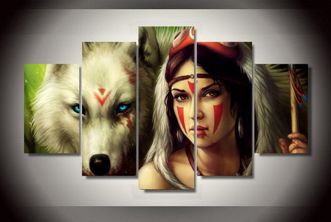 Princess Mononoke & Wolf Wall Poster Canvas