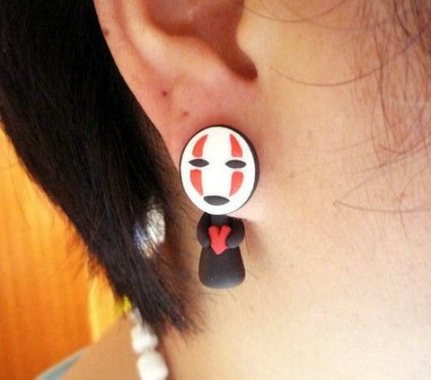 Ghibli Spirited Away Kaonashi No Face Clay Earrings Stud Hand-made - ghibli.store
