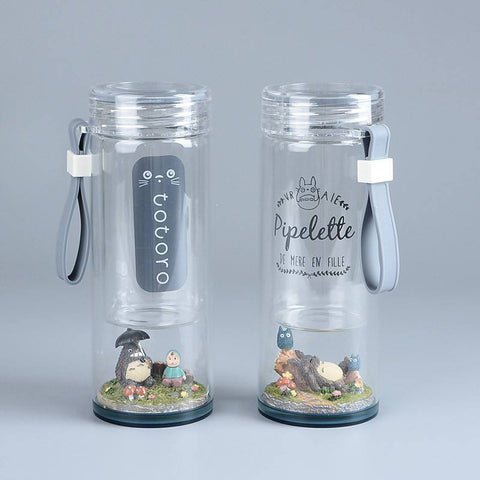My Neighbor Totoro Landscape Inspired Portable Glass Water Bottle - ghibli.store