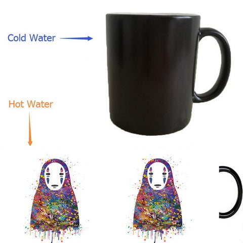 Spirited Away No Face Kaonashi Colorful Heat changing color Mugs - ghibli.store
