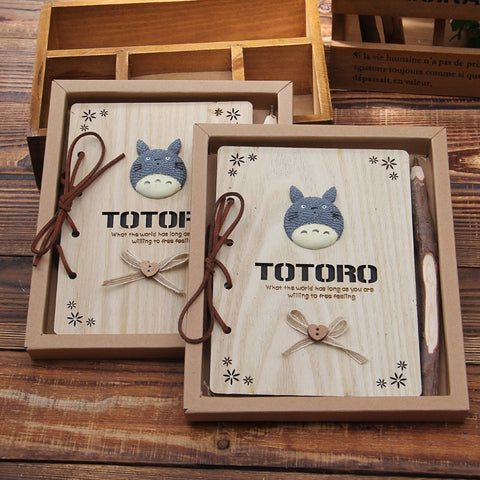 My Neighbor Totoro Vintage Wooden Notebook - ghibli.store