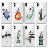 Ghibli Studio Characters Watercolor Soft Transparent Case For iPhone - ghibli.store