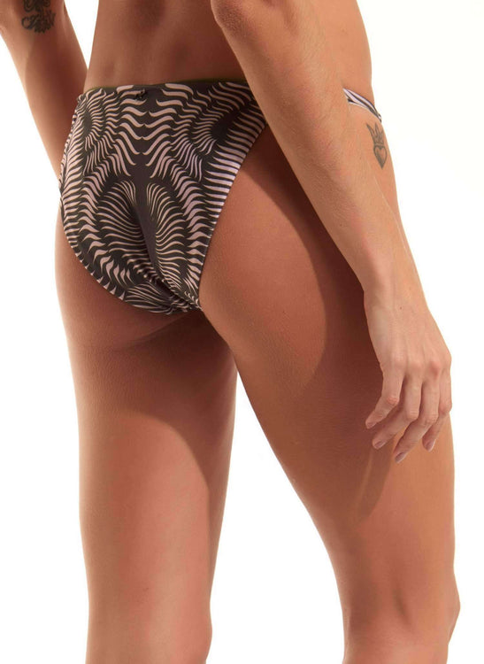 SOFI BOTTOM -  BLACK AND PALE PINK RIB PRINT - US