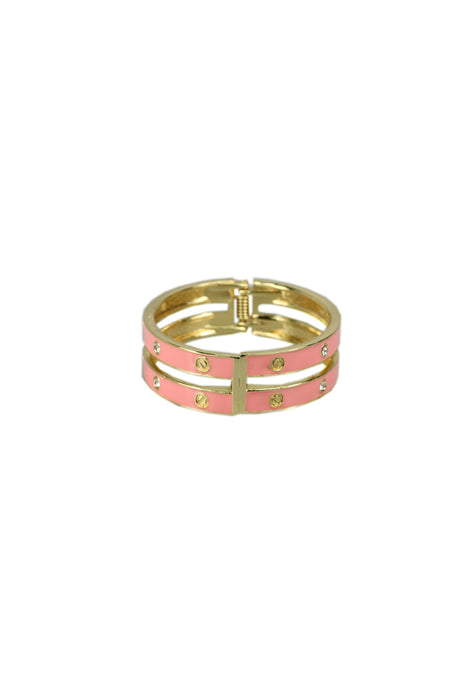 Double Row Bangle With Diamante And Gold Studs-Pink