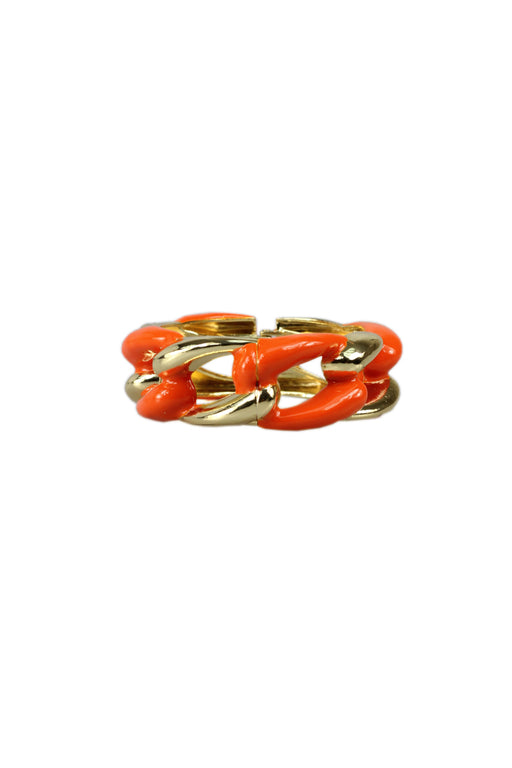 Orange And Gold Chunky Chain Style Statement Bracelet