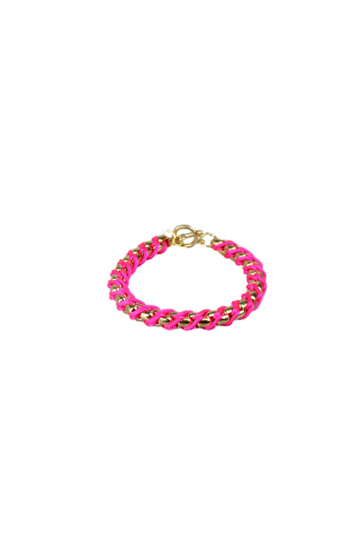 Friendship Bracelet With Coloured Cord And Gold Links