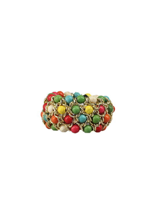 Gold Chain Stretch Bracelet With Multi-Coloured Beads