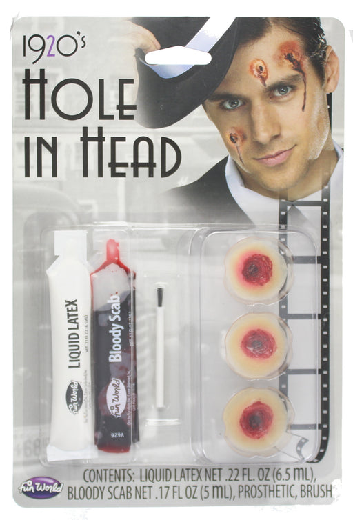 Halloween Hole In The Head Kit , 3 Bullet Holes & Liquid Latex