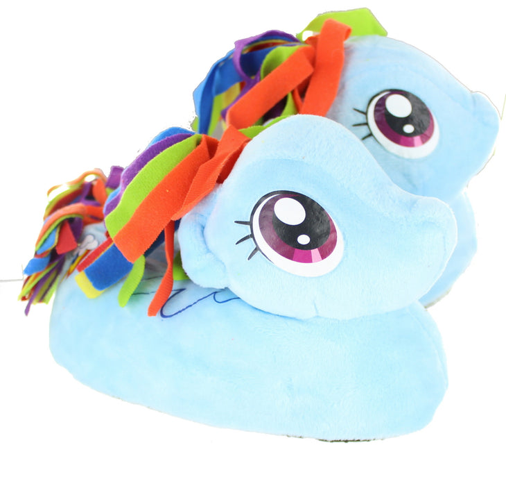 Girls My Little Pony MLP Rainbow Dash Slipper Pink Children Kid Novelty 3D Plush-9-10