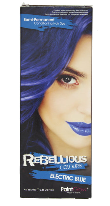 Paint Glow Rebellious Colours Semi-Permanent Conditioning Hair Dye 70ml-Electric Blue