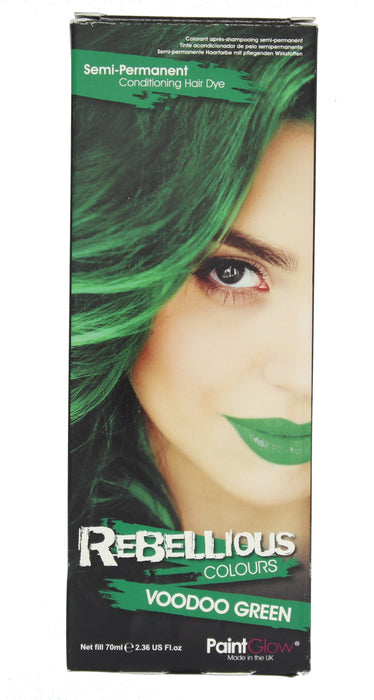 Paint Glow Rebellious Colours Semi-Permanent Conditioning Hair Dye 70ml-Voodoo Green