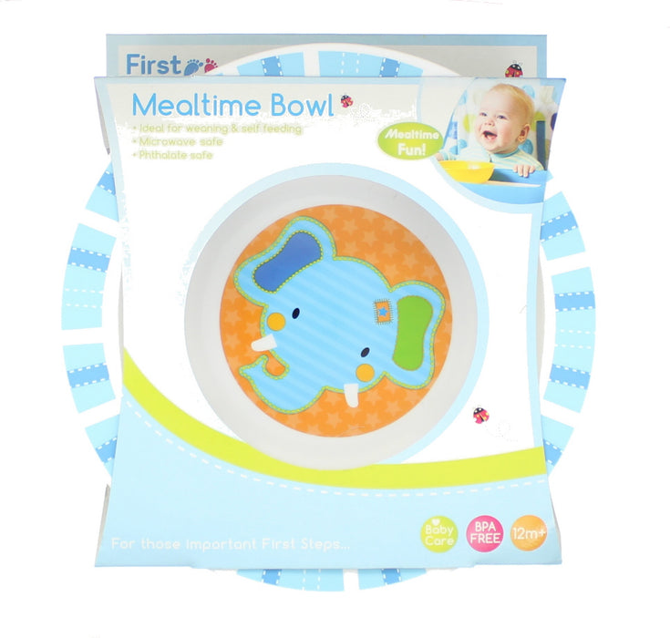 First Steps Jungle Pals Childrens/Baby BPA Free Mealtime Bowl 12M+ -Blue Elephant