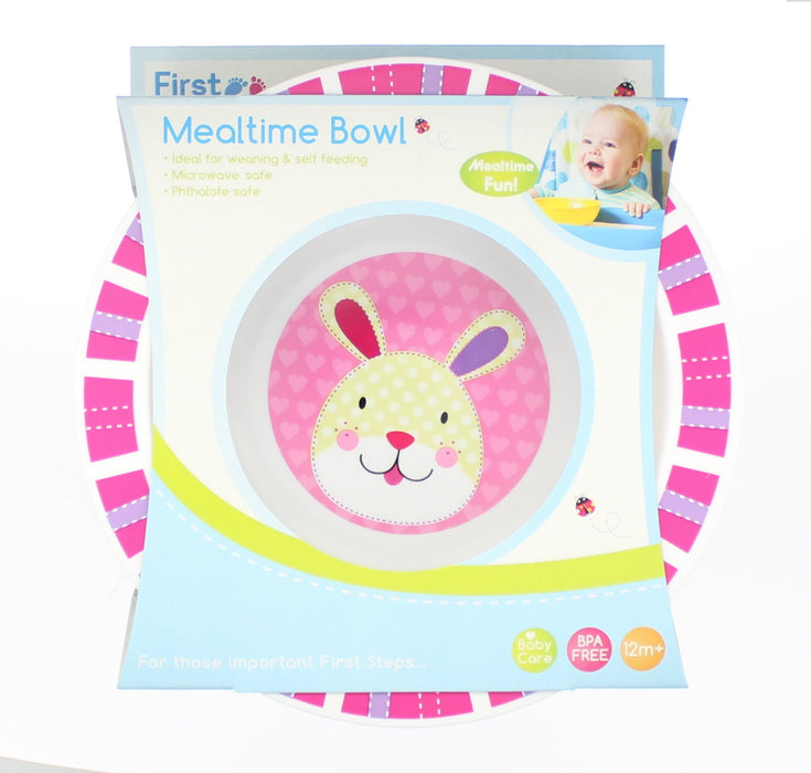 First Steps Jungle Pals Childrens/Baby BPA Free Mealtime Bowl 12M+ -Pink Rabbit
