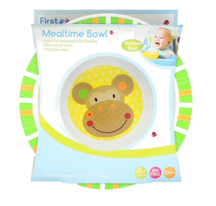 First Steps Jungle Pals Childrens/Baby BPA Free Mealtime Bowl 12M+ -Green Monkey