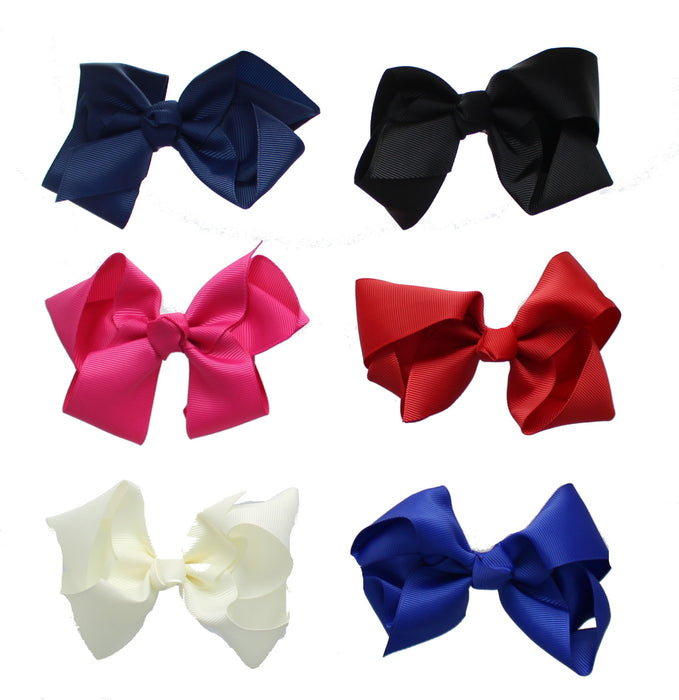 Pack of 6 Mix Coloured Childrens Girls Fashion Hair Bow Dance School Accessory
