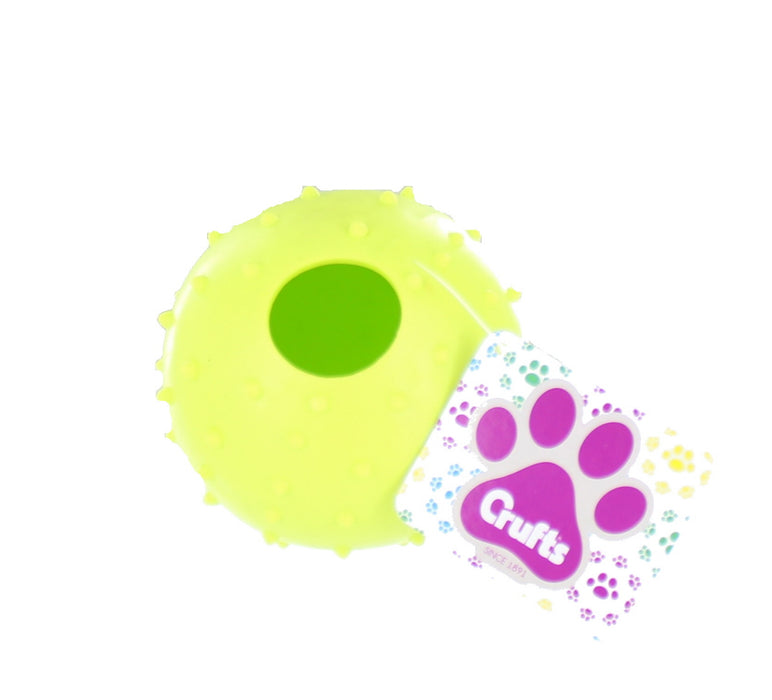 Crufts Colourful Large Rubber Dog/ Puppy Play & Treat Ball 9cm-Green