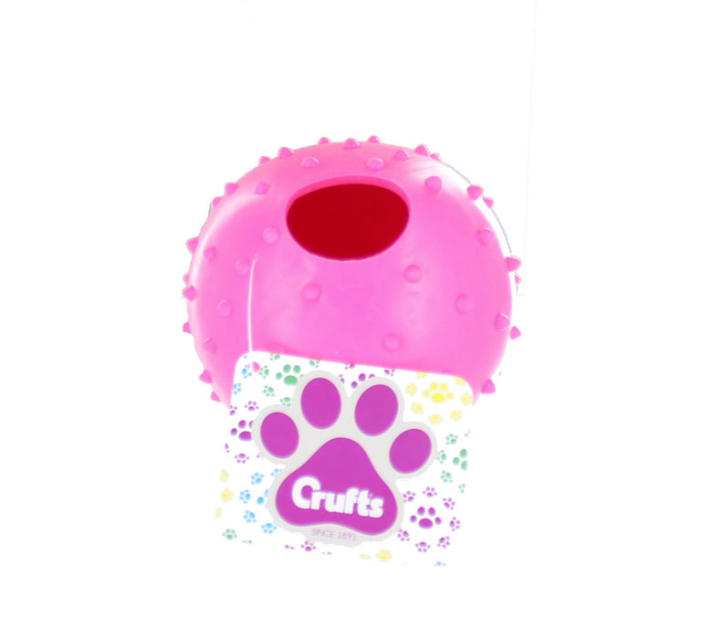 Crufts Colourful Large Rubber Dog/ Puppy Play & Treat Ball 9cm-Pink