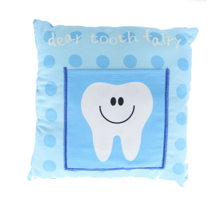 Children's Boys/ Girls Tooth Fairy Money Pillow Cushion With Note/ Letter Pocket -Blue