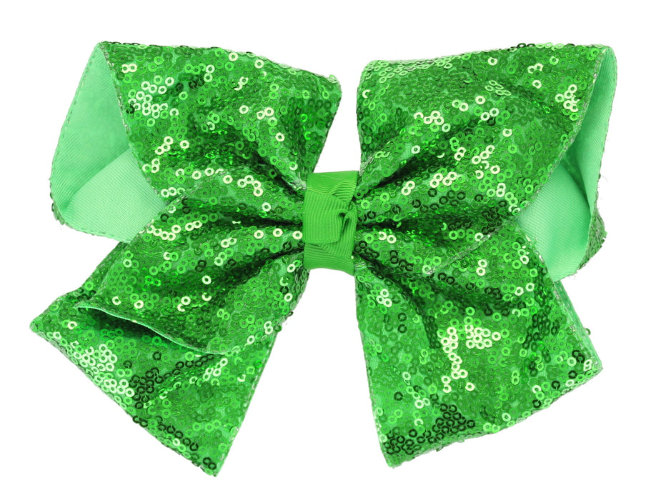 Girls Boutique Large Fashion Sequin Big Hair Bow Dance School Accessory-Green