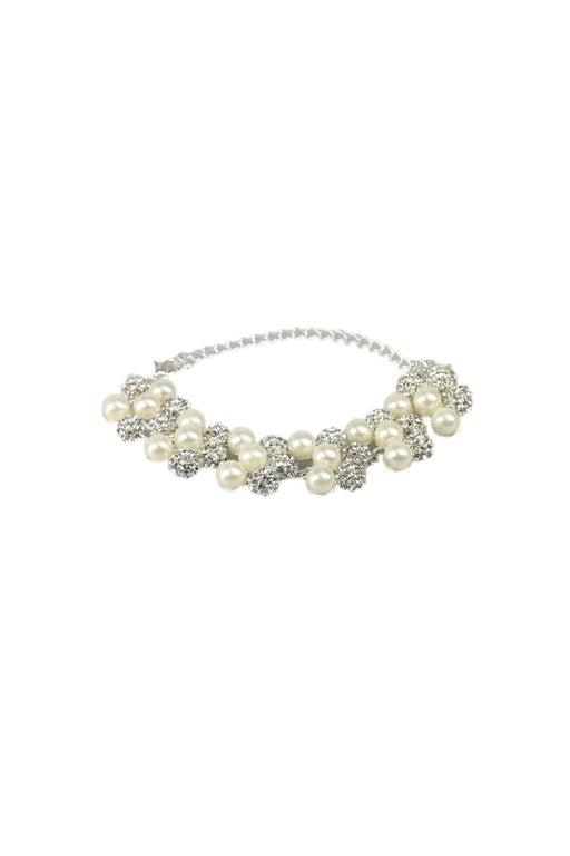 Silver Diamante Ball And White Pearl Bracelet With Silver Clasp