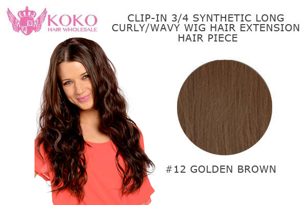 "26""  Clip-In 3/4 Synthetic Long Curly Wavy Hair Extension Half Head Piece-#12 Golden Brown"