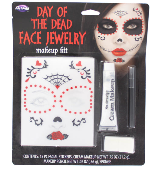 Halloween Day of the Dead Face Jewelry Stickers Make up Kit with Cream Make Up