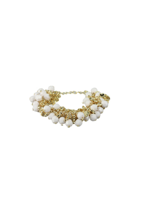 Gold Chain Bracelet  With White Ball And Gold Star Charms And Clasp