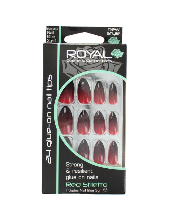 Royal 24 Glue-On Strong & Resilient Nail Tips - Red Stiletto