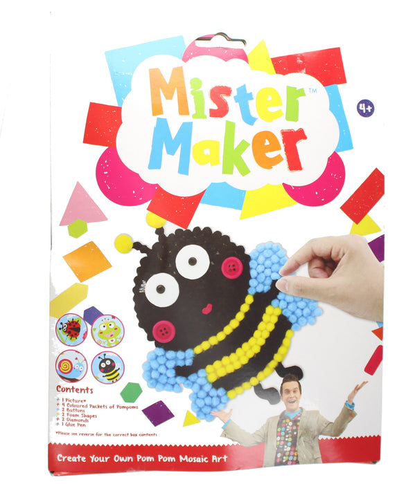 Mister Maker Animal Bee Pom Pom Mosaic Art with Picture, Pompoms & Glue Pen