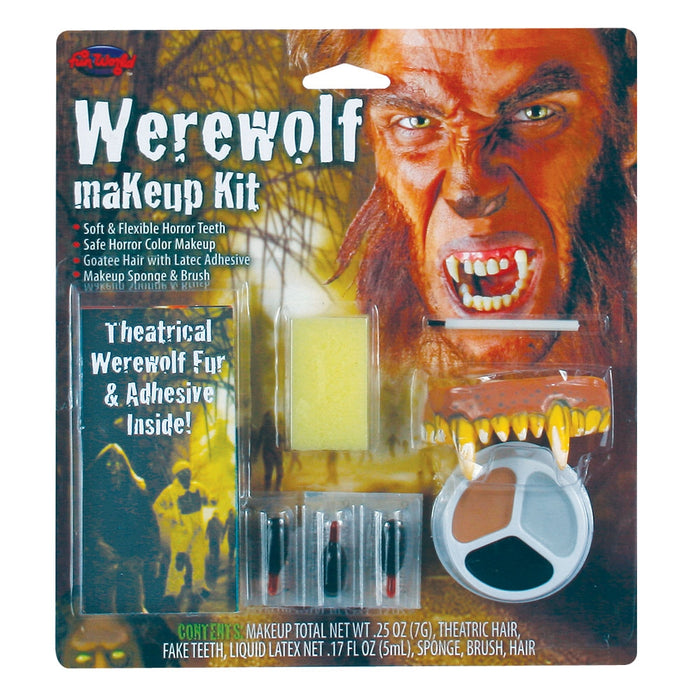 Halloween Werewolf Make-Up Kit With Flexible Teeth, Goatee Hair & Latex Adhesive