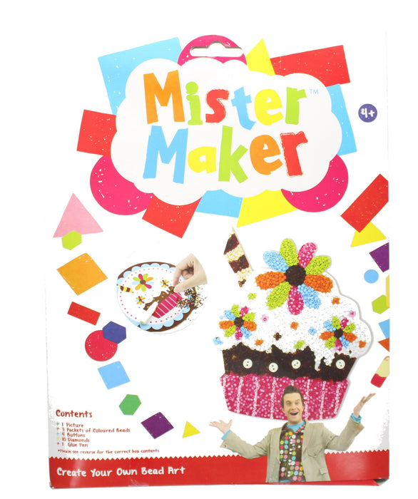 Mister Maker Kids Craft Kit Set Toy Cupcake Pom Beads Mosaic Art Picture Pompoms