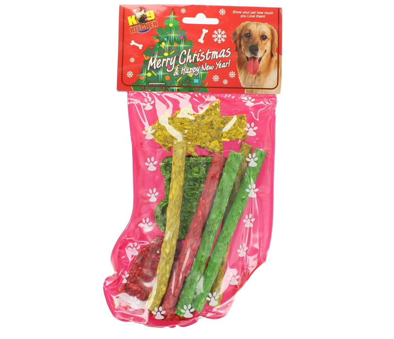 K9 Kitchen Munchy Stocking 8 Christmas Rawhide Dog Chew Treats