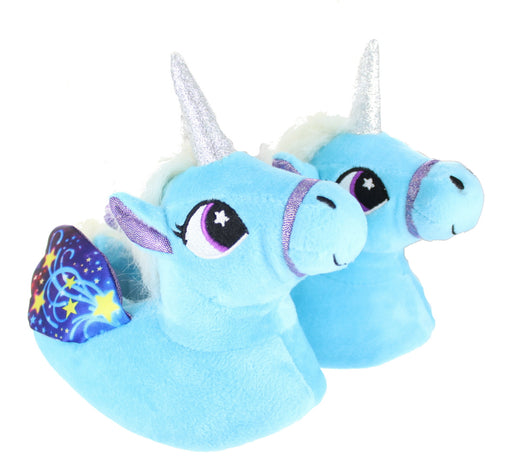 Children's Kids Girls Pastel Blue Unicorn Slippers With Wings